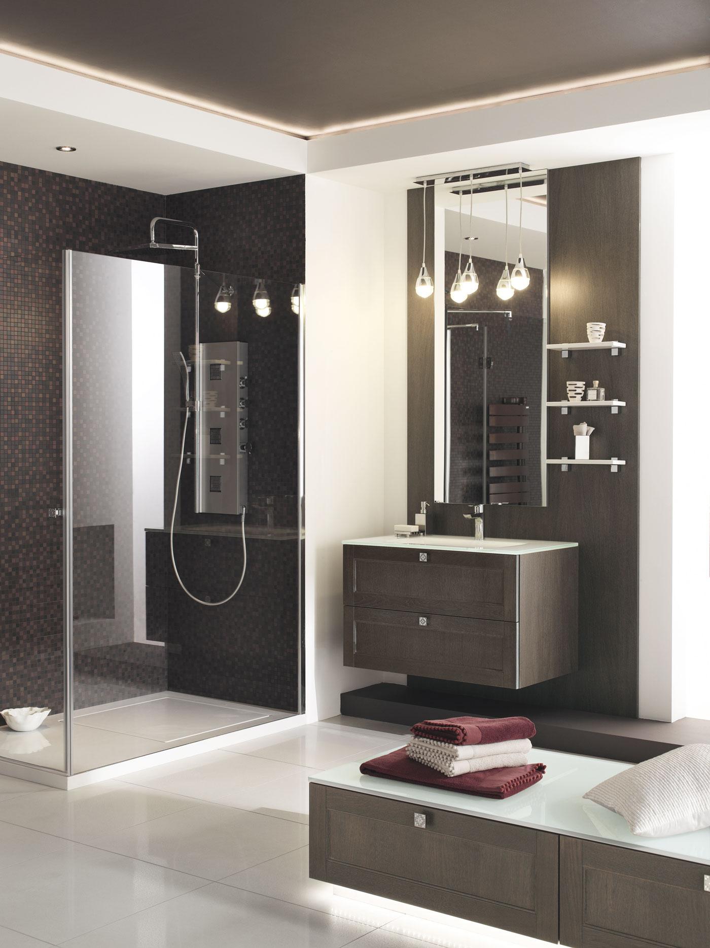 Salle de bain madi ch ne angelim brun perene lyon - Salle de bain brun ...